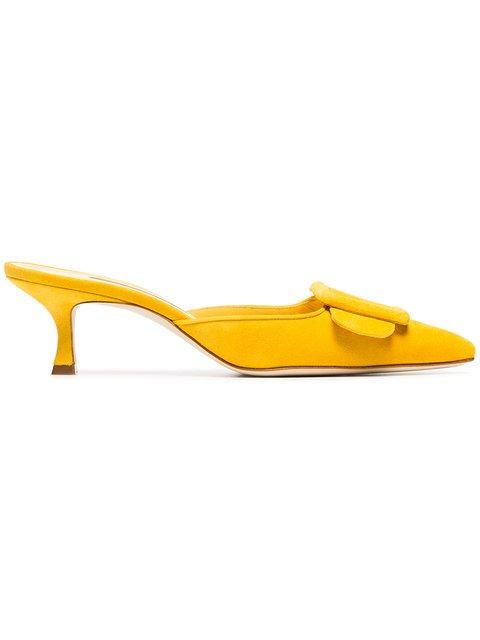 Manolo Blahnik Yellow Maysale 50 Suede Mules - Farfetch