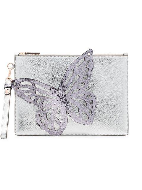 Sophia Webster Silver Flossy Butterfly Leather Clutch - Farfetch