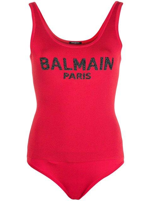 Balmain Logo Bodysuit Top - Farfetch