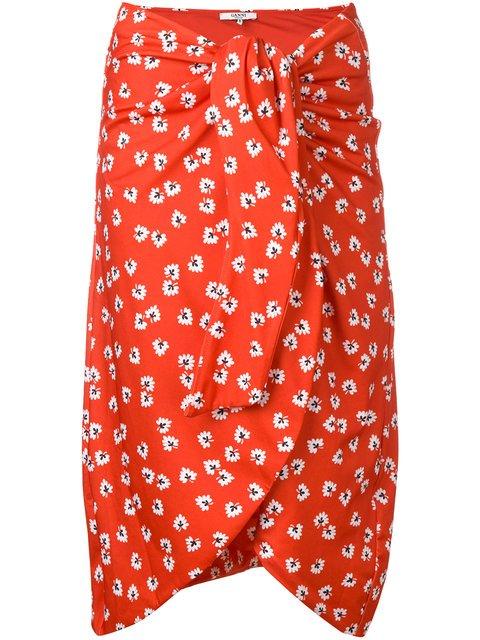 Ganni Floral Print Tie Knot Skirt  - Farfetch
