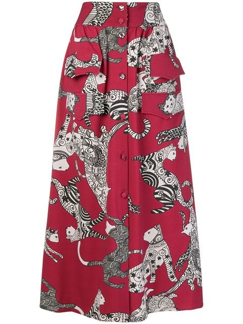 Ultràchic Cat Print Skirt - Farfetch
