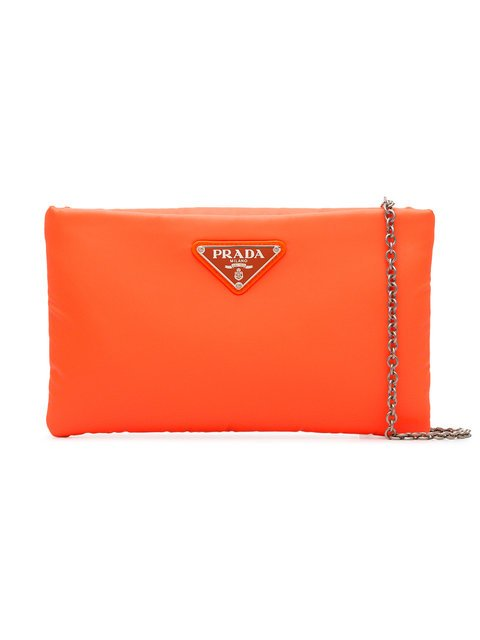 Prada Fluorescent Orange Clutch Bag With Chain - Farfetch