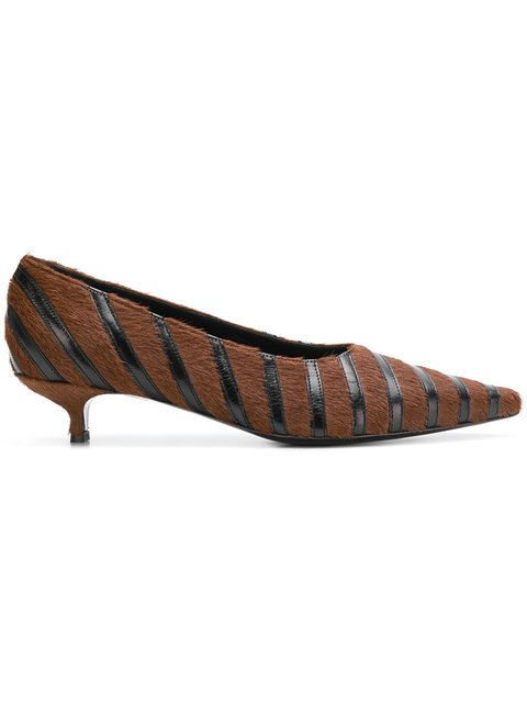 Sonia Rykiel Striped Pointed Kitten Heel Pumps - Farfetch