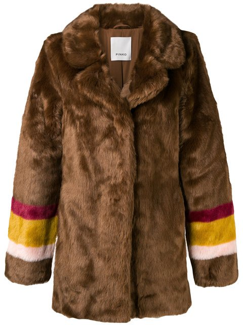 Pinko Striped Sleeves Fur Jacket  - Farfetch