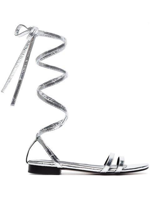 Newbark Metallic Silver Rosa Eel Leather Sandals - Farfetch