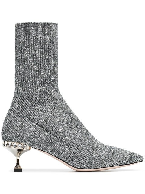 Miu Miu Marl Grey 55 Sock Heeled Boots - Farfetch