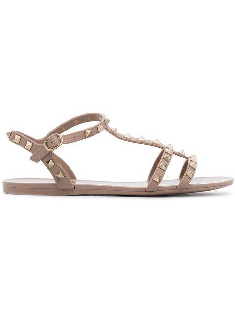 Valentino Nude Rockstud Studded PVC Sandals - Farfetch