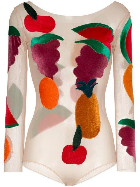 Alexia Hentsch Fruit Applique Round Neck Bodysuit - Farfetch