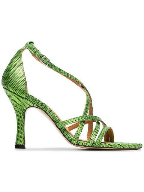 Ganni Green And Black Wilma 90 Leather Sandals - Farfetch