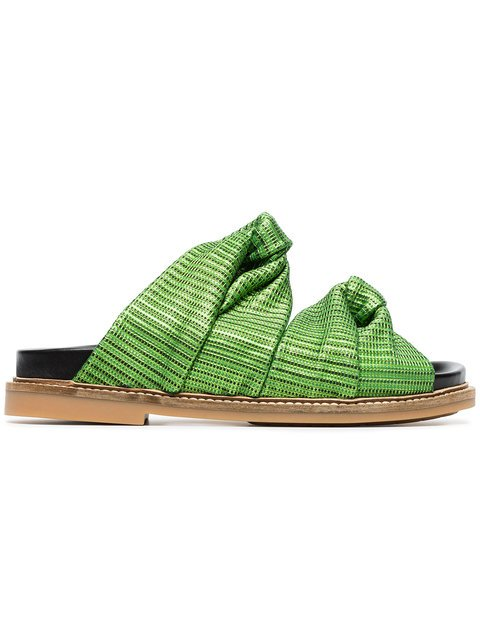 Ganni Green Anoush Knotted Embossed Leather Slides - Farfetch