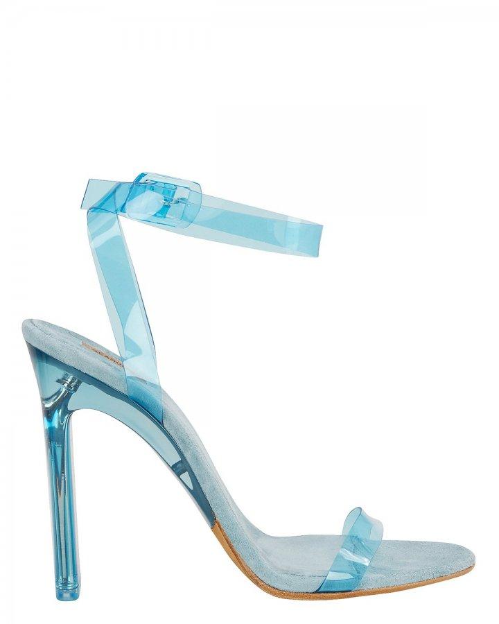 Blue PVC Ankle Strap Sandals