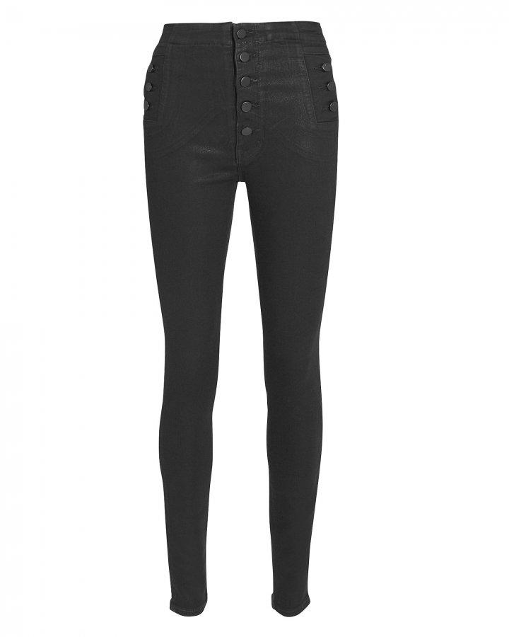 Natasha High Rise Black Coated Skinny Jeans