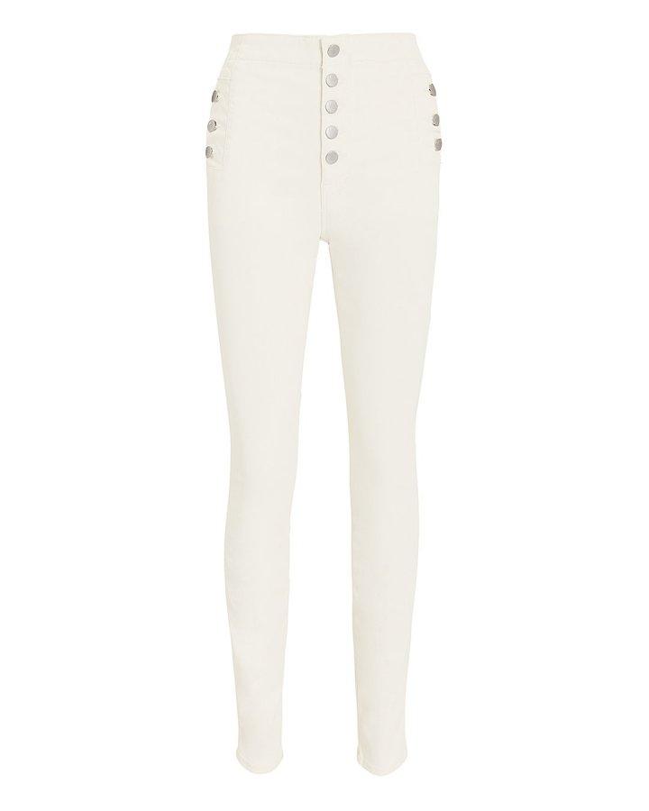 Natasha High Rise Coated White Skinny Jeans