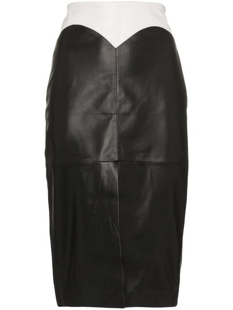 Filles A Papa Dixie Medium Rise Fitted Leather Skirt  - Farfetch