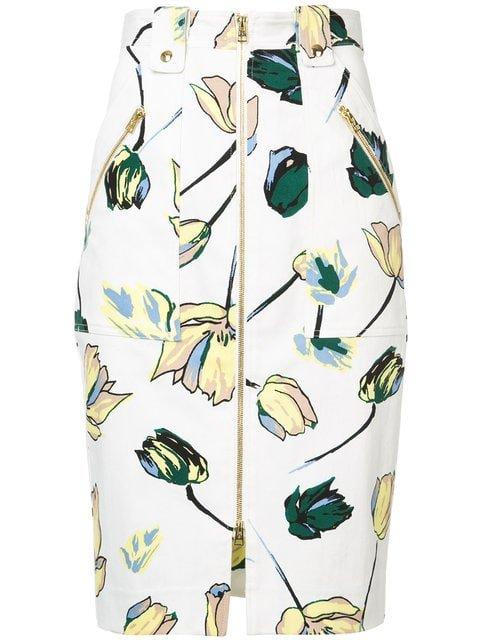 Dvf Diane Von Furstenberg Floral Zipped Skirt - Farfetch