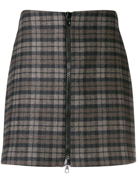 Ultràchic Checked Zip Front Skirt - Farfetch