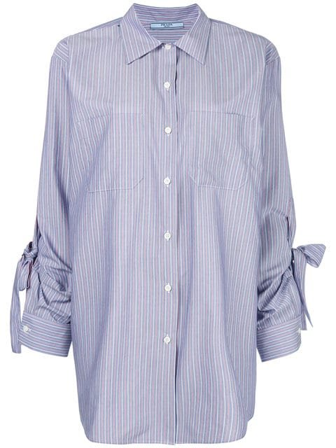 Prada Blue Striped Shirt With Bows On Sleeves - Farfetch