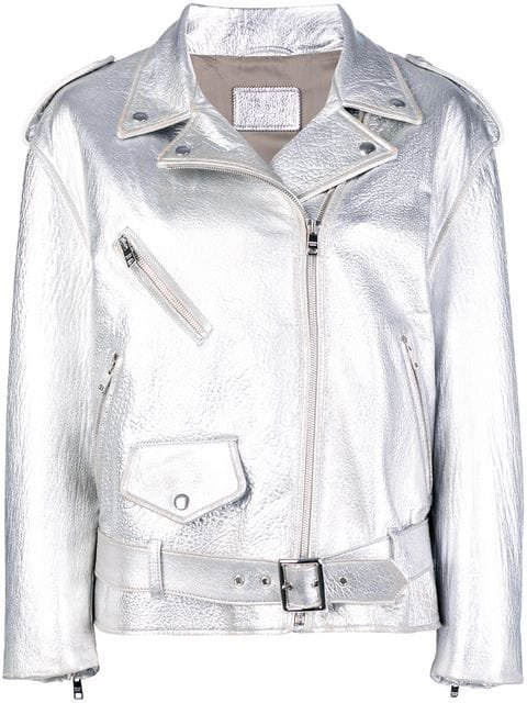 Prada Metallic Biker Jacket - Farfetch