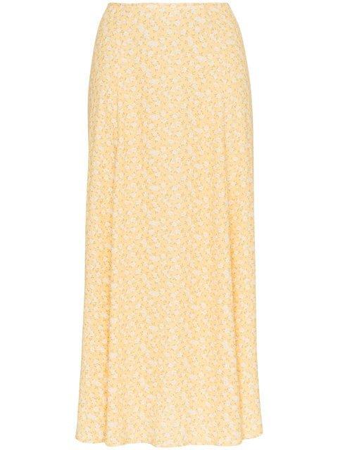 Reformation High Rise Floral Print Midi Skirt  - Farfetch