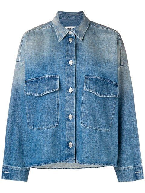 Mm6 Maison Margiela Washed Oversized Denim Jacket - Farfetch