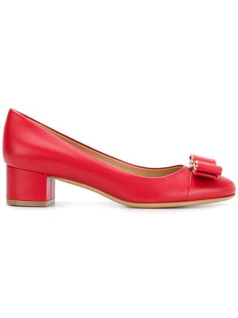 Salvatore Ferragamo Elinda Logo Bow Low-heel Pumps - Farfetch