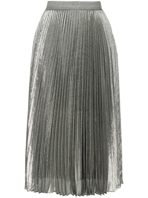 Christopher Kane Silver Tone Pleated Skirt - Farfetch