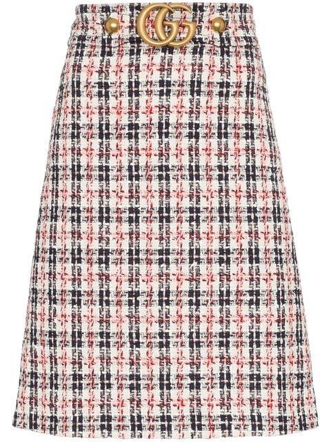 Gucci GG Belt A-line Tweed Skirt - Farfetch