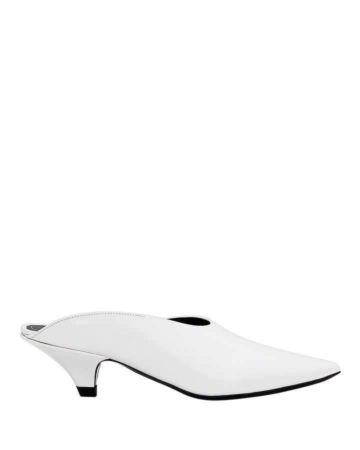 Pointed White Mules