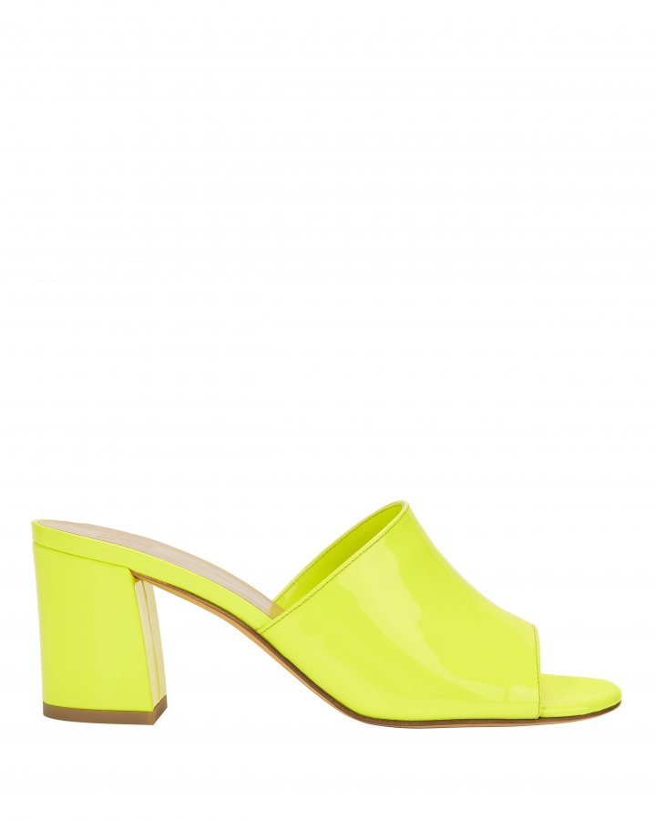 Mar Patent Yellow Leather Slides