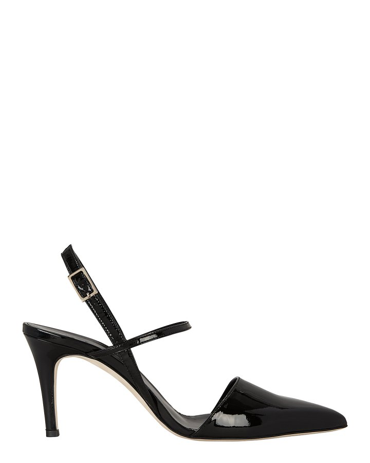 Eli Black Patent Leather Slingback Pumps