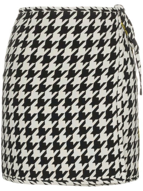 Off-White High Waisted Virgin Wool Blend Houndstooth Mini Skirt - Farfetch