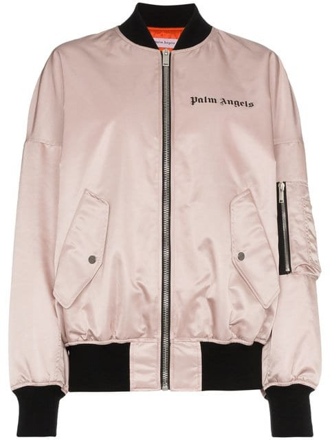 Palm Angels Pink Satin Oversized Bomber - Farfetch