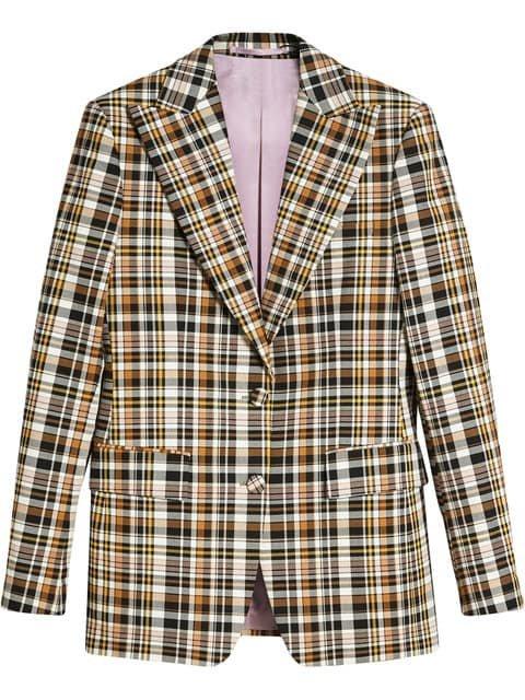 Burberry Check Stretch Cotton Peak Lapel Blazer - Farfetch