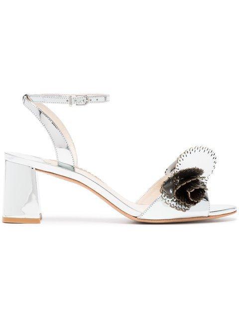 Sophia Webster Silver Soleil 60 Cutout Ruffle Leather Sandals - Farfetch