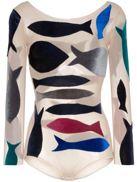 Alexia Hentsch Fish Applique Round Neck Bodysuit - Farfetch