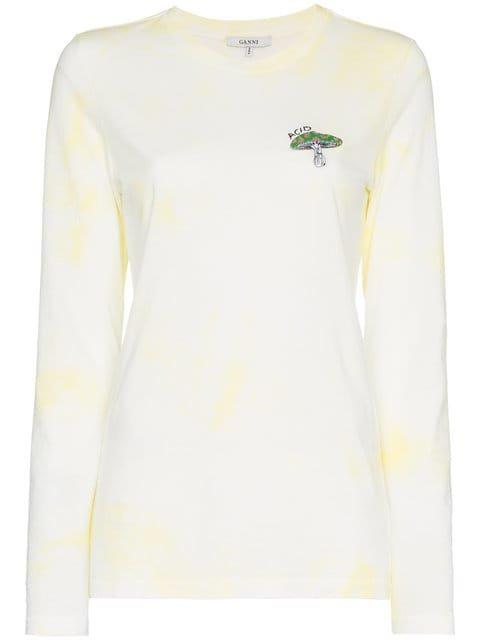 Ganni Acid Mushroom Long Sleeved T-shirt  - Farfetch