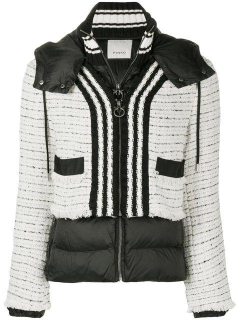 Pinko Tweed Panel Padded Jacket  - Farfetch