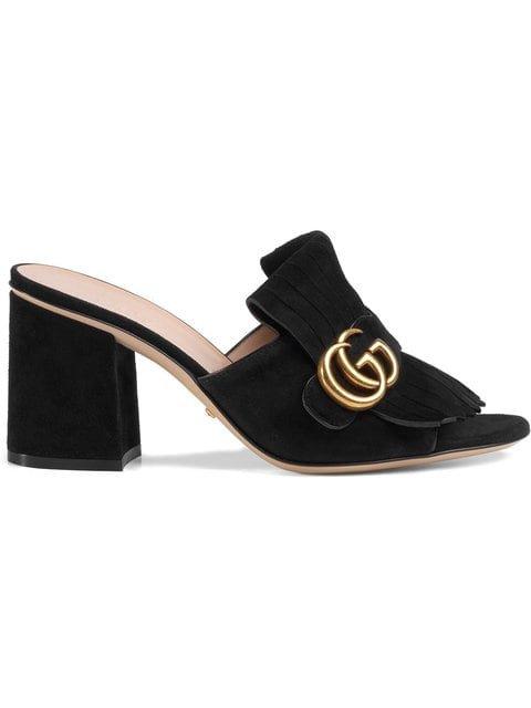 Gucci Suede Mid-heel Slide  - Farfetch