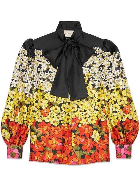 Gucci Degradé Flowers Silk Twill Shirt - Farfetch