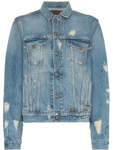 R13 Distressed Detail Denim Jacket - Farfetch