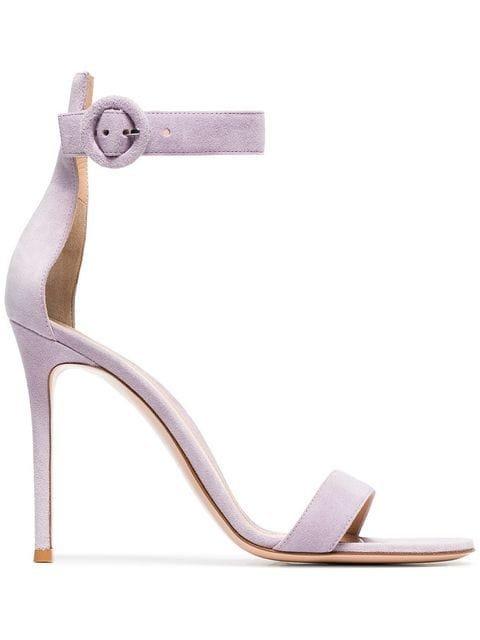 Gianvito Rossi Lilac Portofino 105 Suede Sandals - Farfetch
