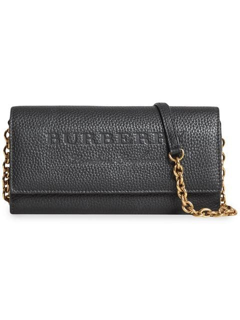 Burberry Embossed Leather Wallet With Chain - Farfetch
