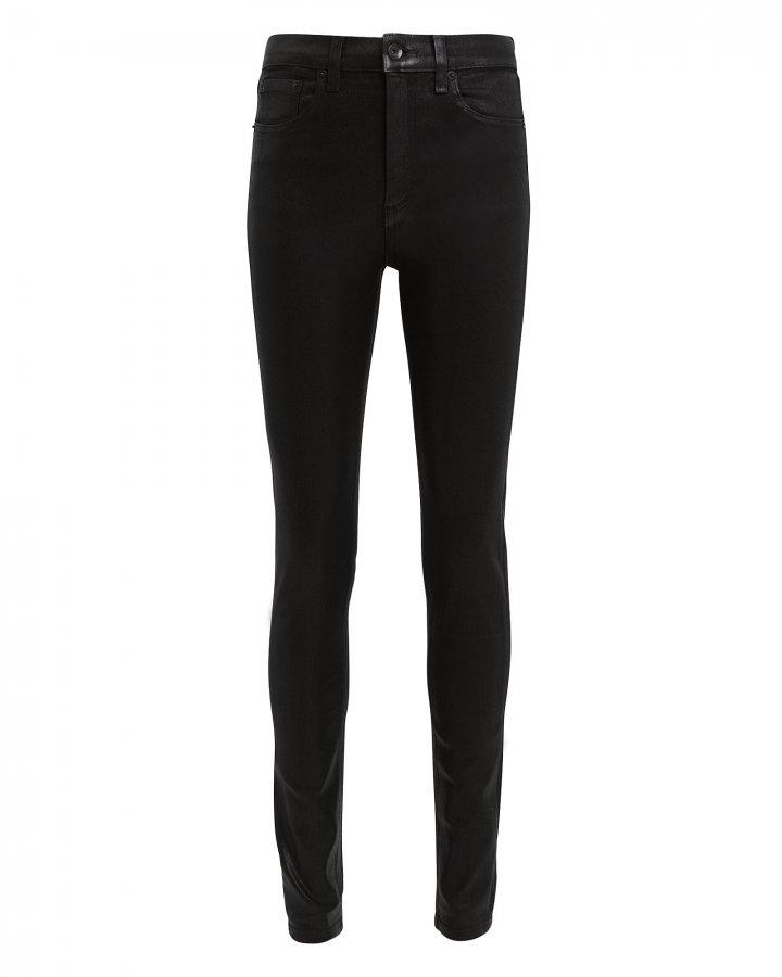 High-Rise Coated Skinny Black Jeans