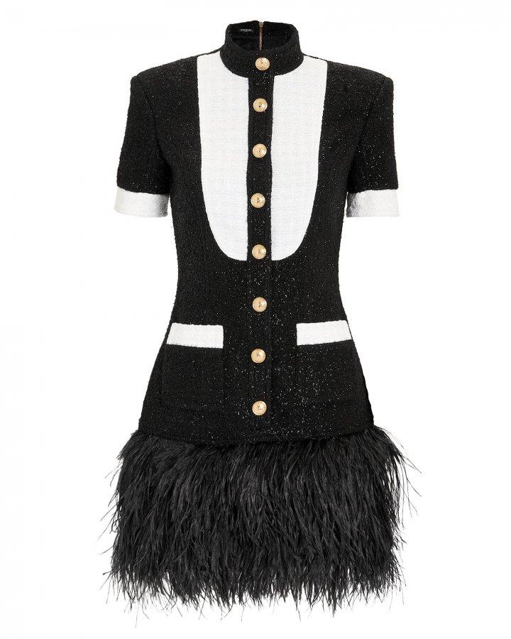 Feather Hem Mini Dress