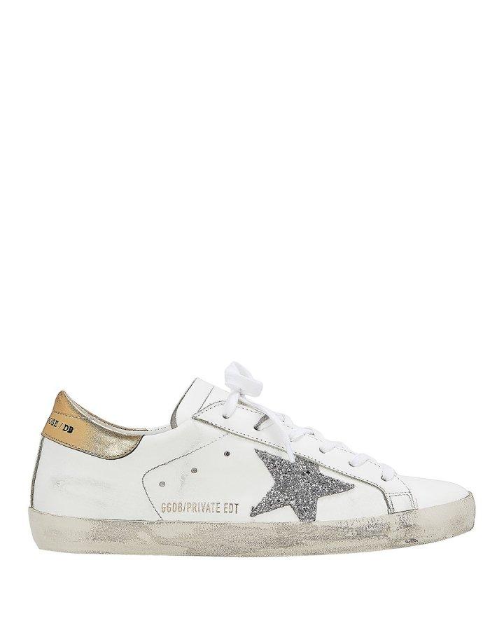 Superstar Silver Glitter Star Low-Top Sneakers