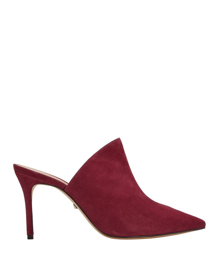 Bardot Red Suede Mules