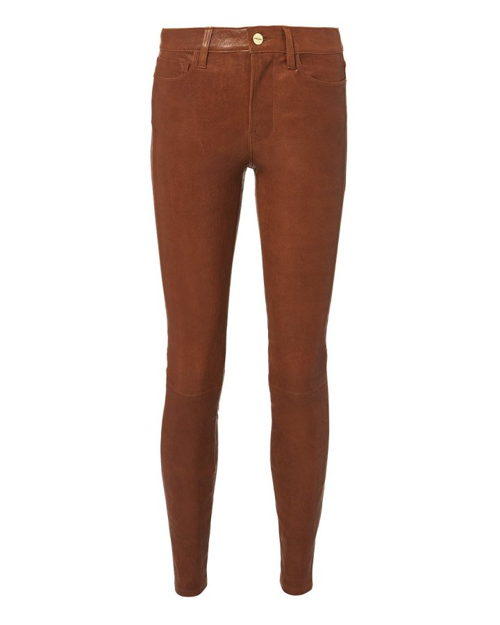 Cognac Skinny Leather Pants
