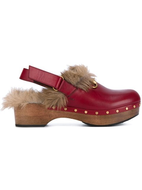 Gucci Red Amstel 45 Leather Fur Lined Clogs - Farfetch