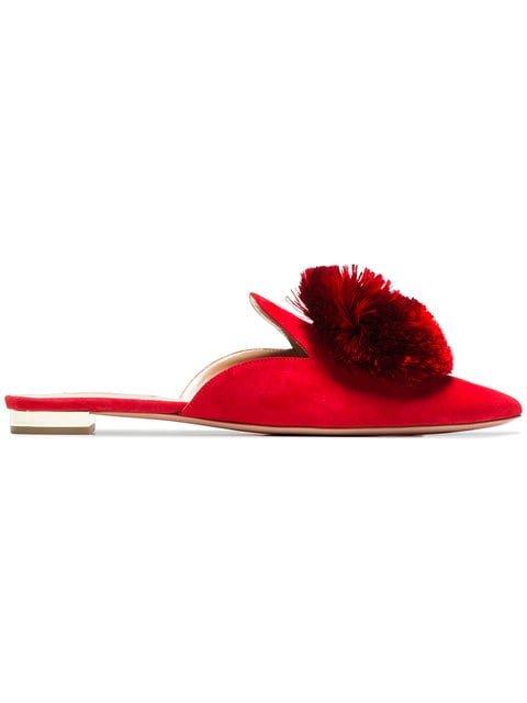 Aquazzura Red Powder Puff Suede Slippers - Farfetch