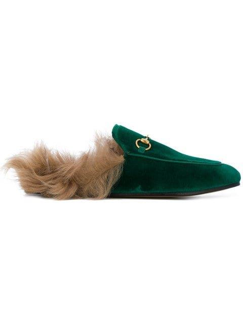 Gucci Emerald Princetown Velvet Fur Lined Mules - Farfetch